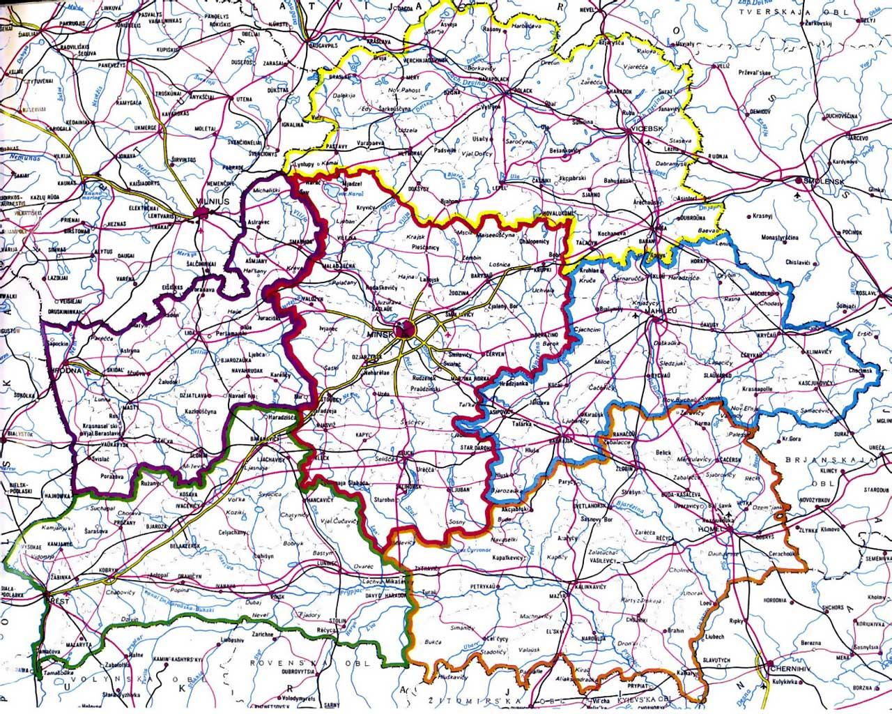 Карта Белоруссии на английском языке map of Европа  Фото map of